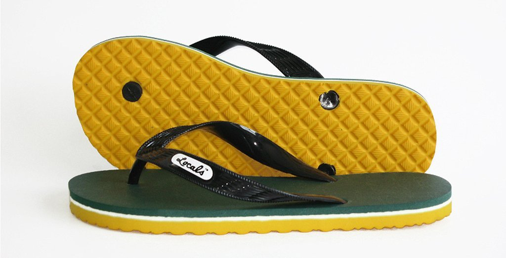 Womens Locals Flip Flops Green Bay Packers - AlohaShoes.com