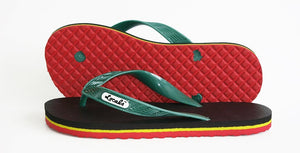 Womens Locals Flip Flops Reggae Green, Red, and Yellow Stripes - AlohaShoes.com