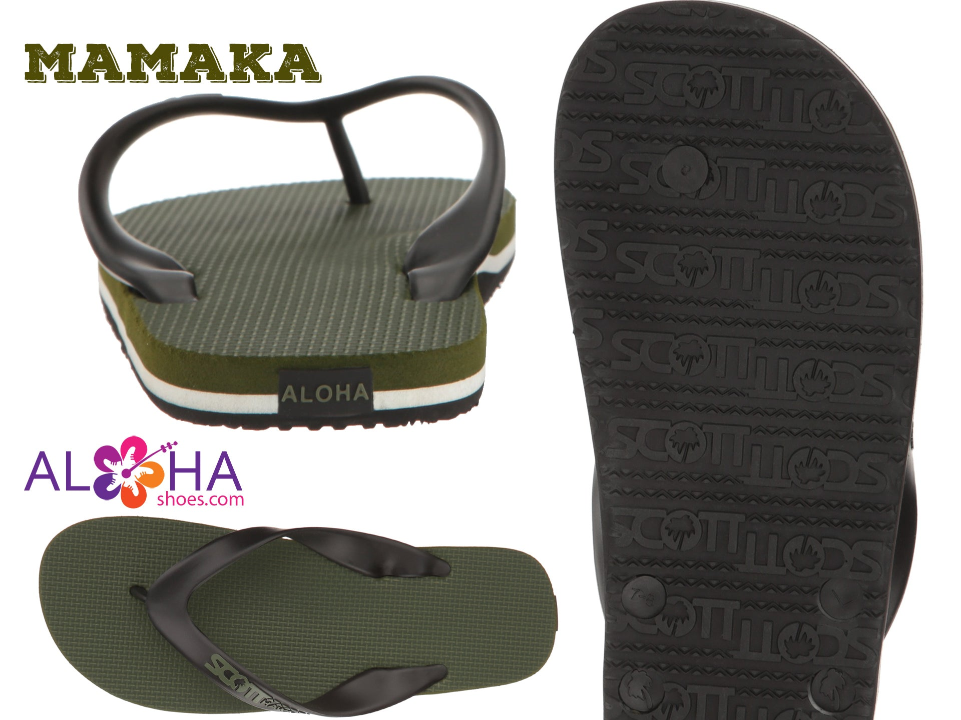 Scott Rubber Slippers Mamaka Green Flip-Flops- AlohaShoes.com