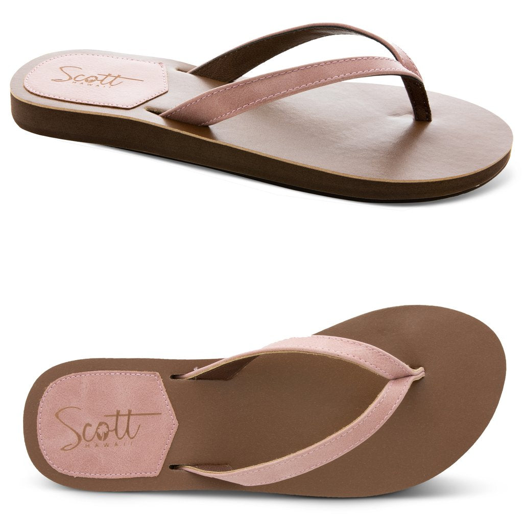 Scott Hawaii Mohala Leather Strap Flats - Pink - AlohaShoes.com