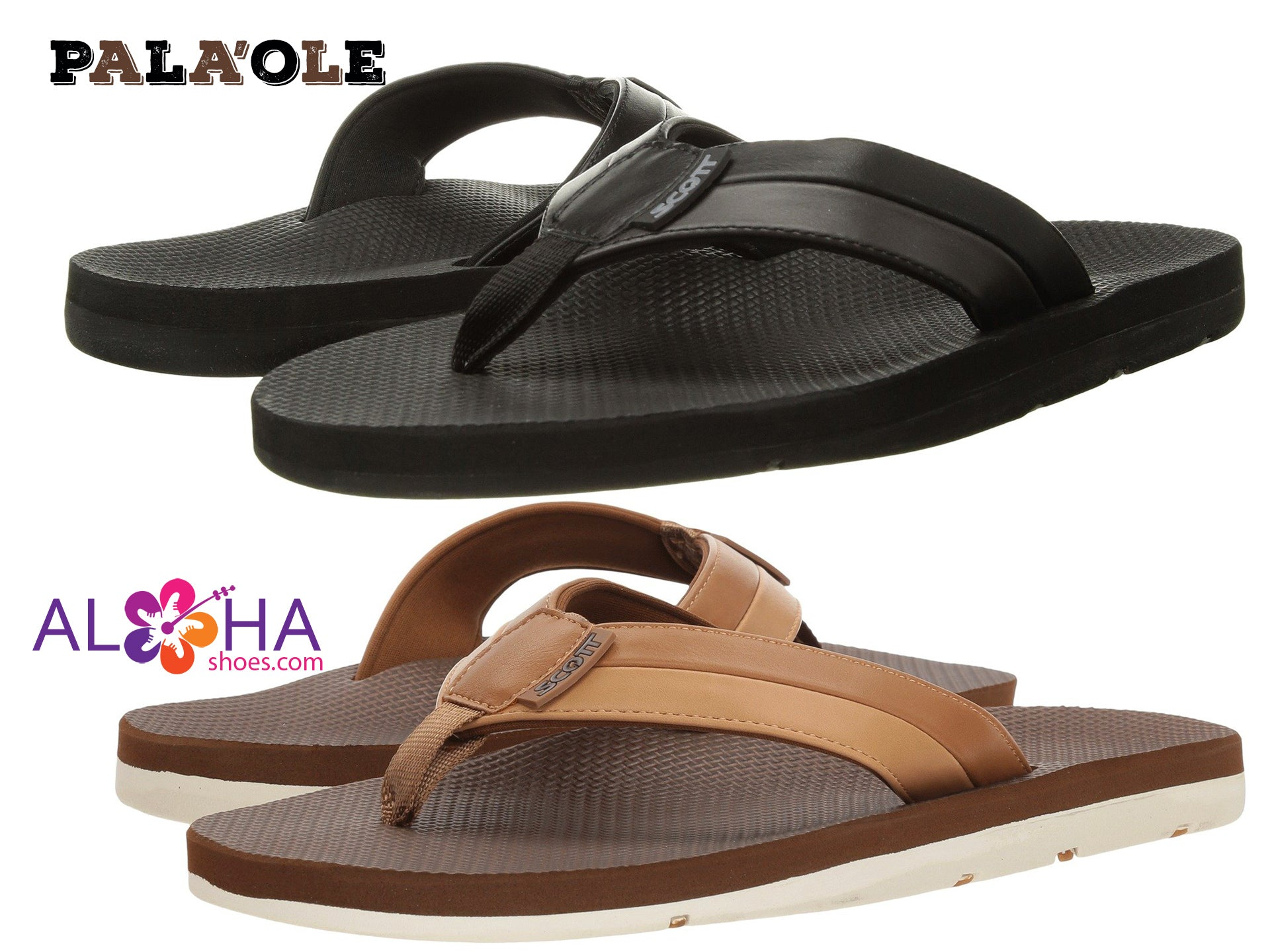 Scott Hawaii Palaole Beach Sandals Two-Toned Bottom Arch Support - AlohaShoes.com