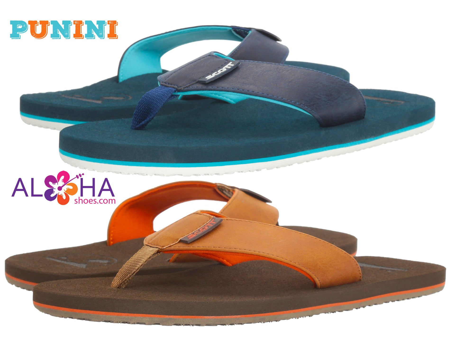 Punini Leather Flip Fops with Absorbing Shock Insole- AlohaShoes.com