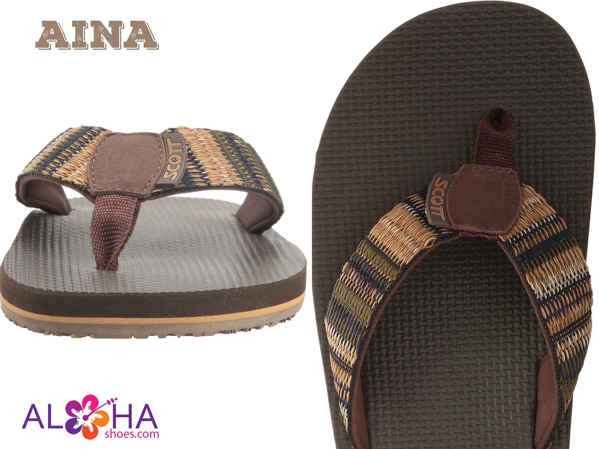 fb63c472d75af Men s Aina Rubber Slippers With Woven Strap - AlohaShoes.com. Men s Aina  Rubber Slippers With Woven Strap - AlohaShoes.com