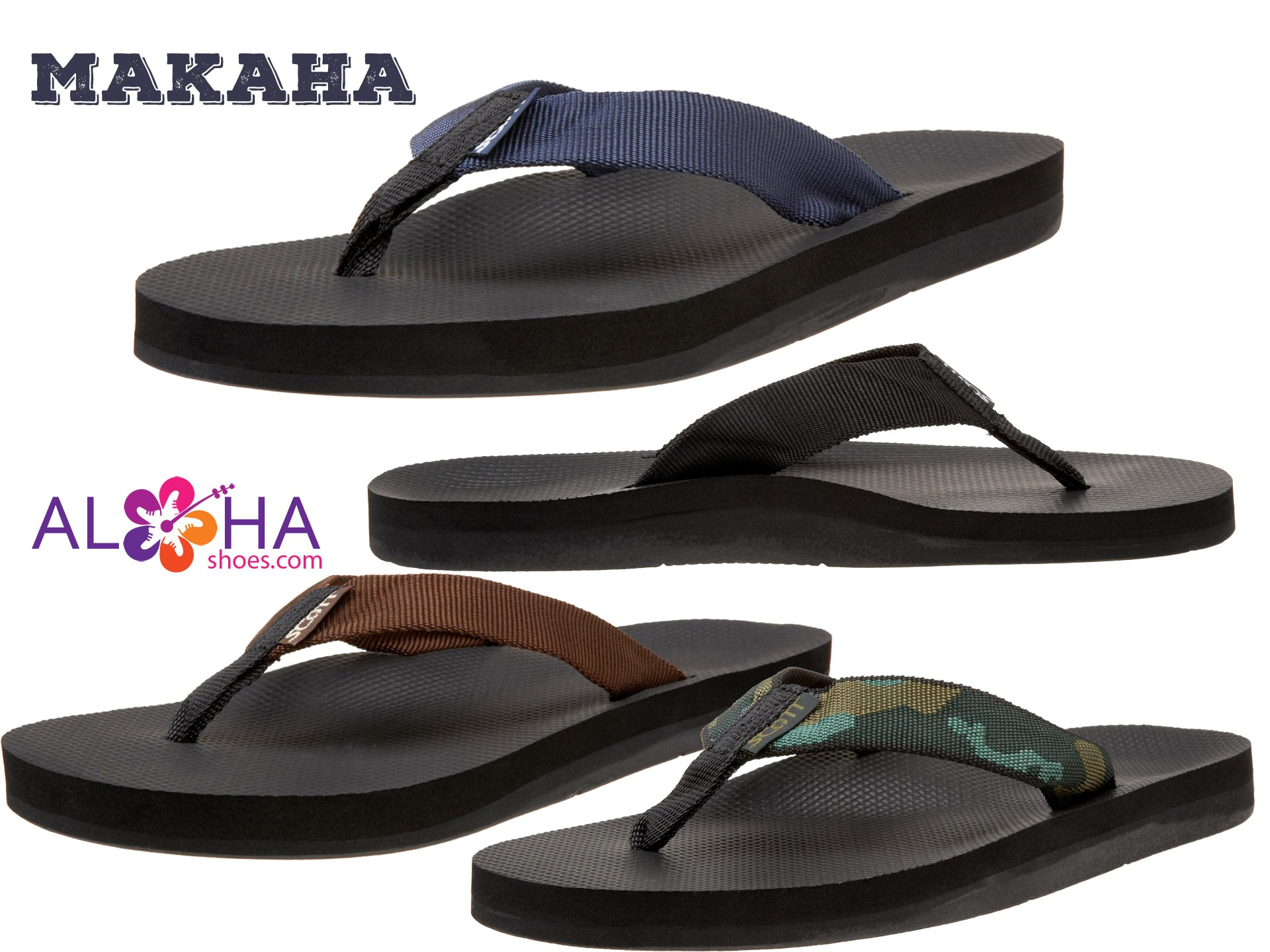 Scott Makaha Sandals | Four Nylon Strap Beach Styles - AlohaShoes.com