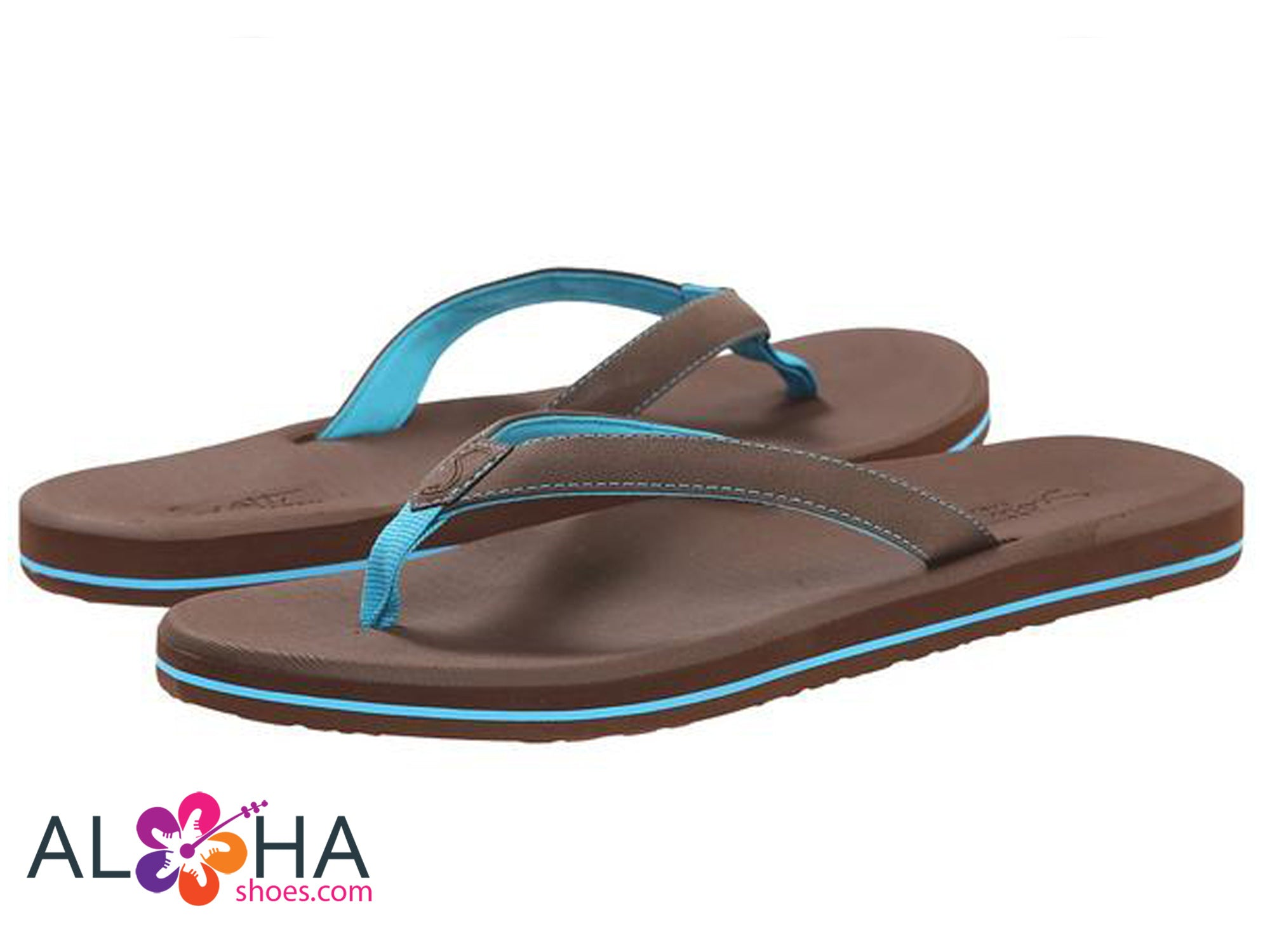 Scott Women's Size 11 Olena Flip Flops | Pinstripe Turquoise Slippers - AlohaShoes.com