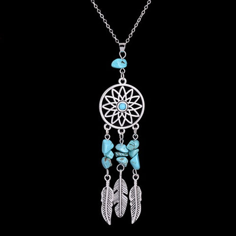 Bohemian Dream Catcher and Stone Feather Bead Natural Stone Necklace