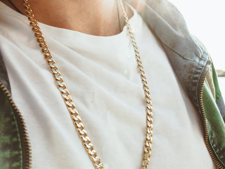 gold steel cuban link chain necklace