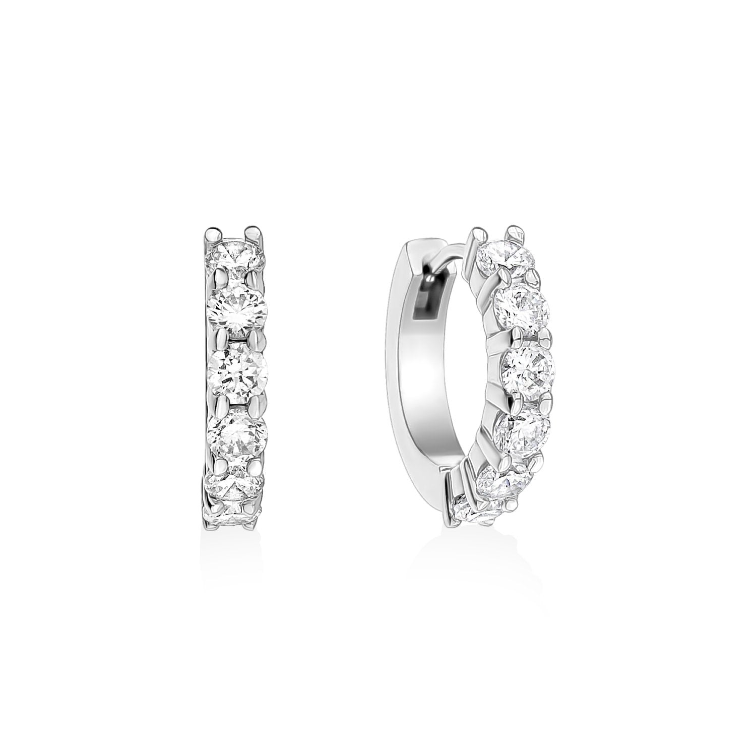 Earrings - 16mm Stainless Steel Cubic Zircon Huggie Earrings