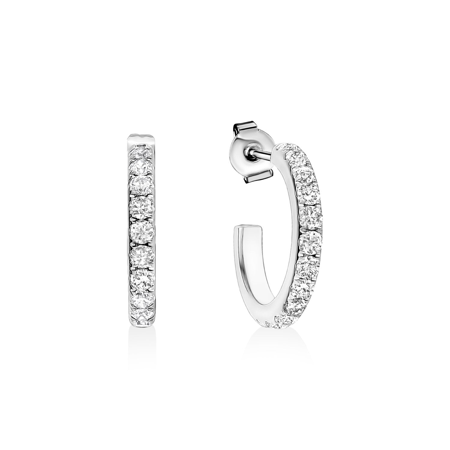 Earrings - 20mm Cubic Zircon Steel Hoop Earrings