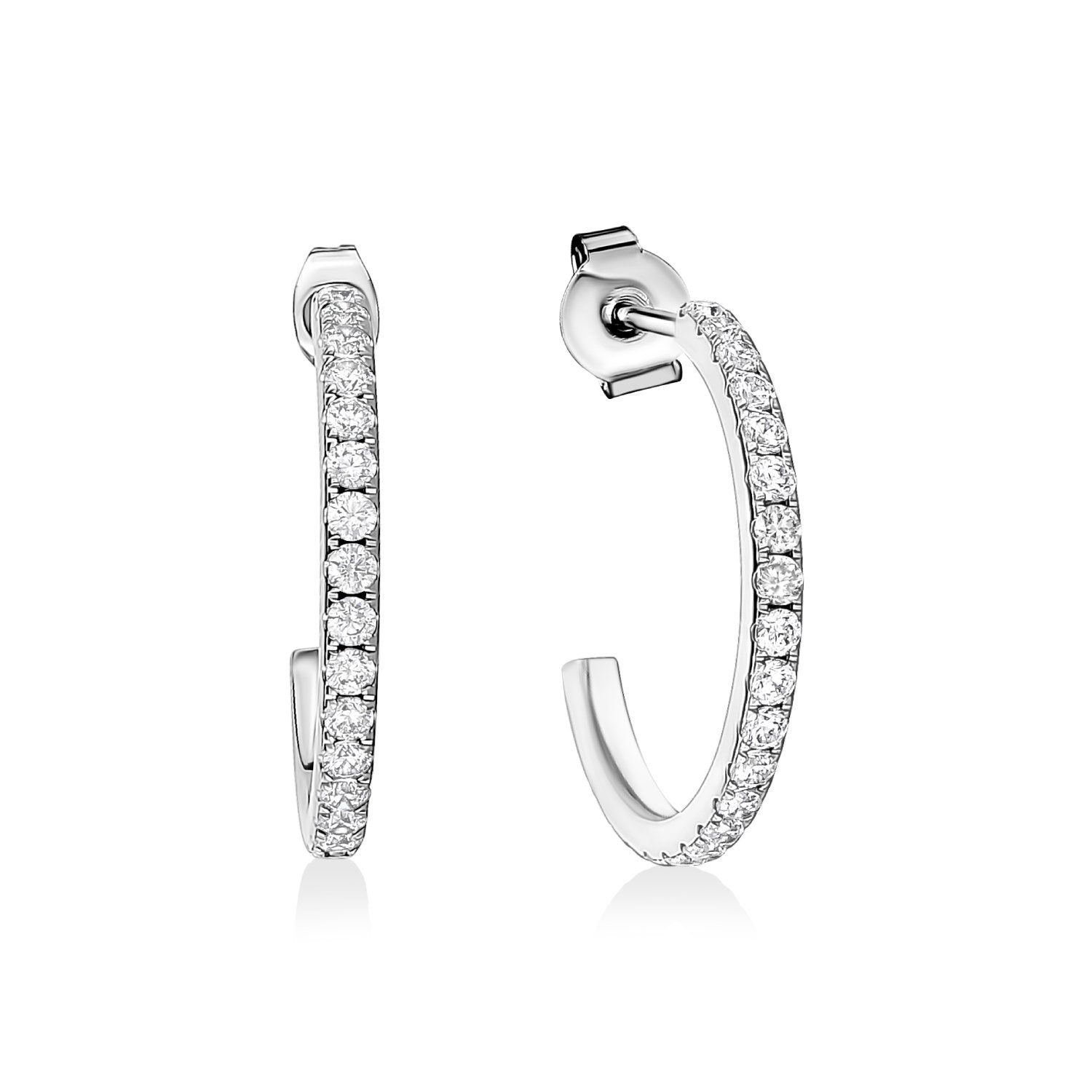 Earrings - 30mm Cubic Zircon Steel Hoop Earrings