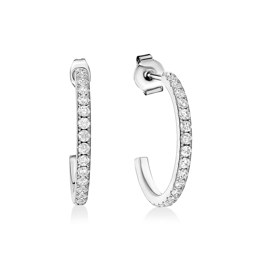 30mm Cubic Zircon Steel Hoop Earrings