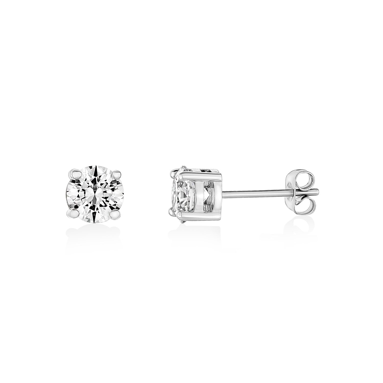 Earrings - 6.5mm Stainless Steel Cubic Zircon Stud Earrings