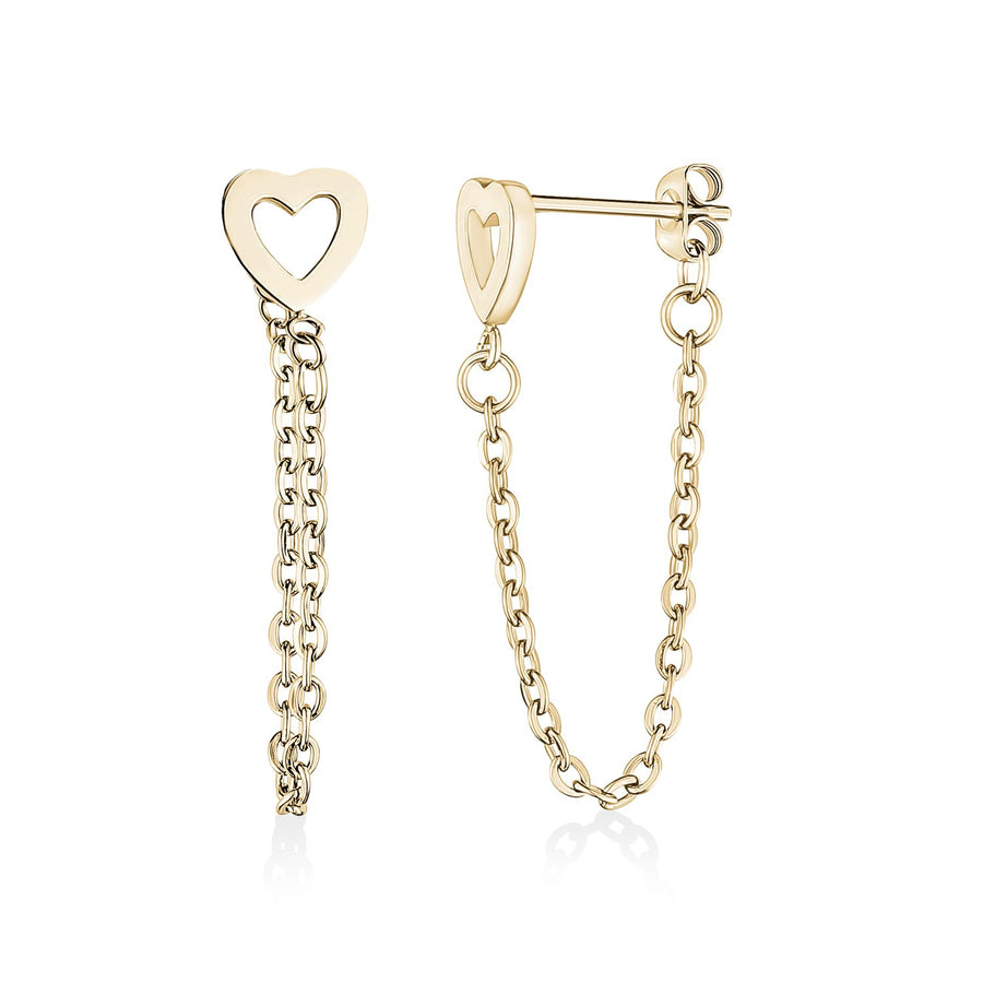 Heart + Chain Steel Stud Earrings