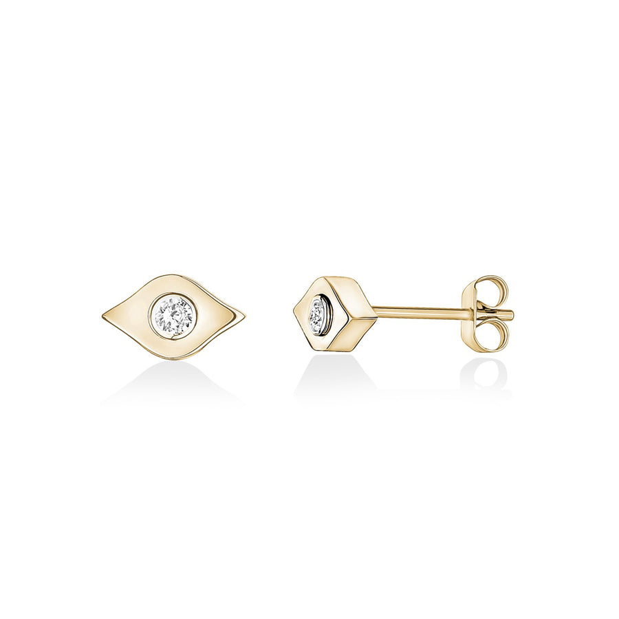 Earrings - Gold Stainless Steel Modern Evil Eye Stud Earrings
