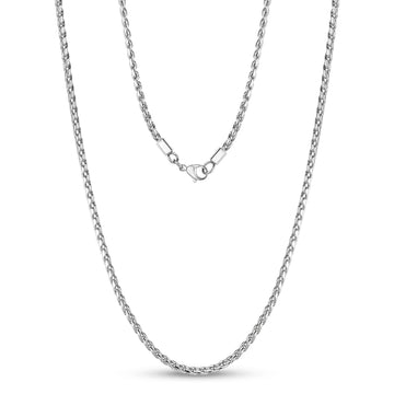 3mm Modern Serpentine Steel Link Chain Necklace