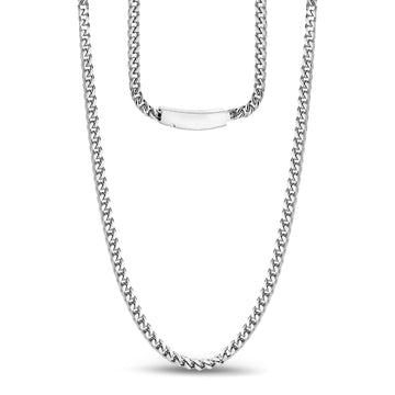 Men Necklace - 3mm Stainless Steel Thin Franco Link Necklace - Engravable