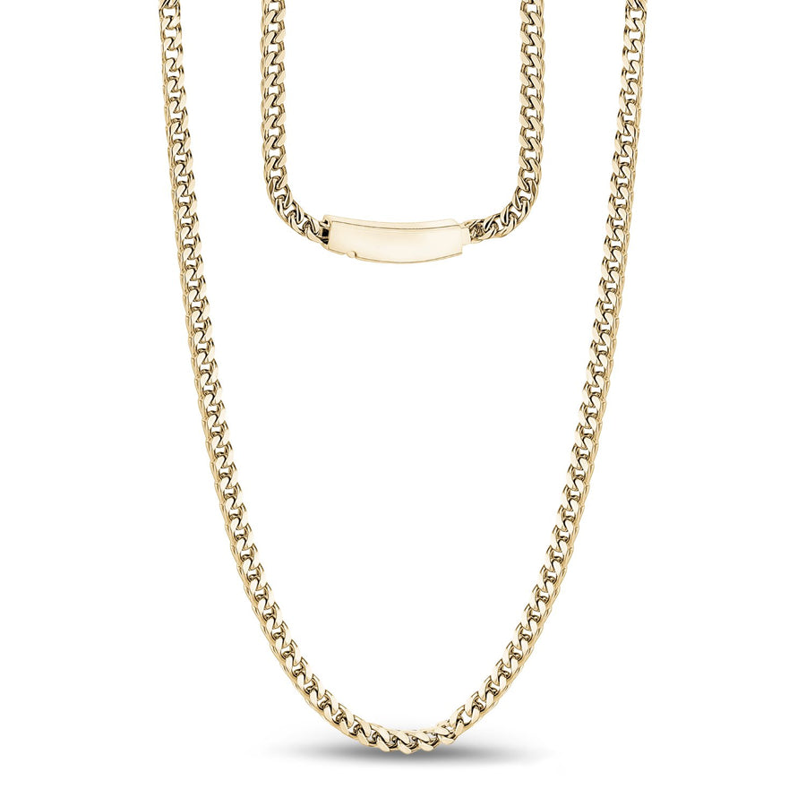 Men Necklace - 3mm Stainless Steel Thin Gold Franco Link Necklace - Engravable