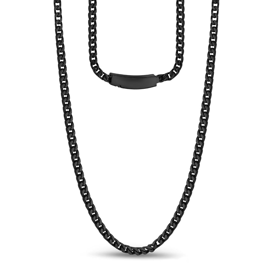 Men Necklace - 3mm Stainless Steel Thin Black Franco Link Necklace - Engravable