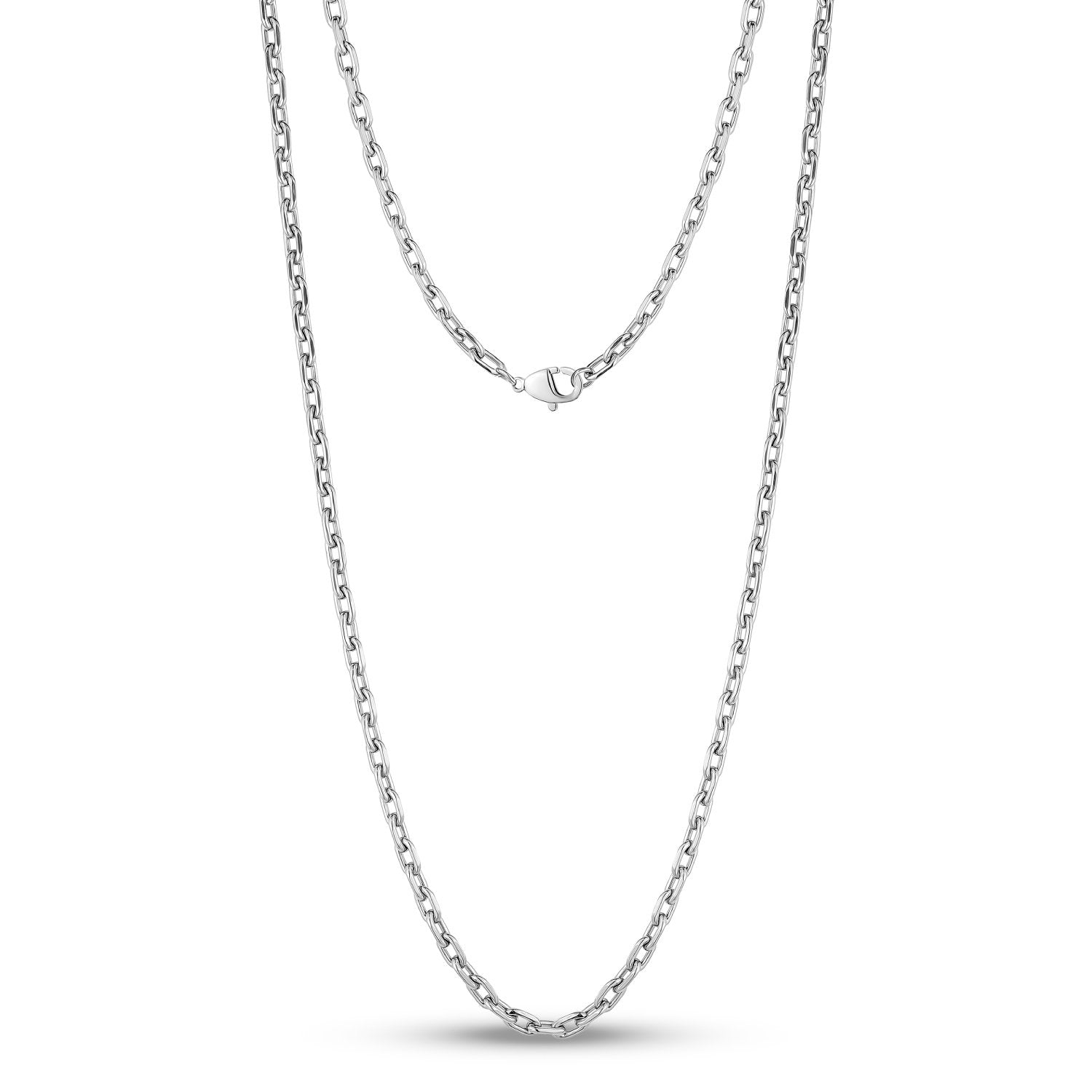 Men Necklace - 4mm Stainless Steel Oval Link Chain Necklace
