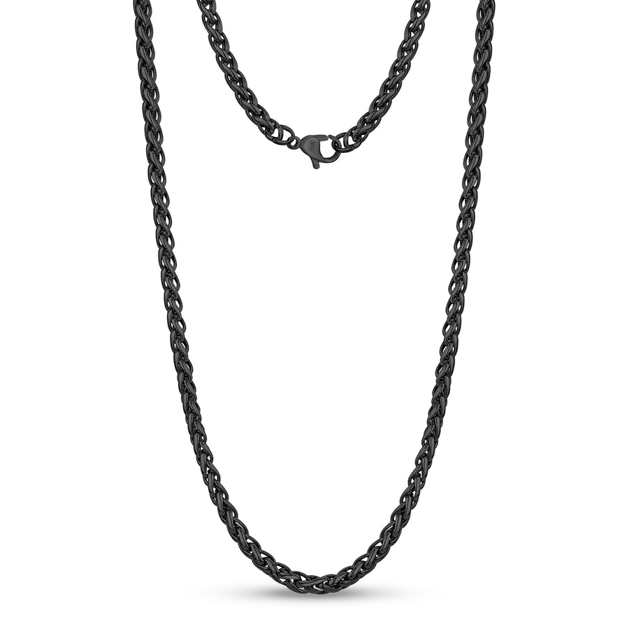 Men Necklace - 4mm Black Stainless Steel Round Franco Wheat Chain Necklace