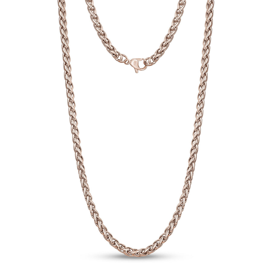 Men Necklace - 4mm Rose Gold Stainless Steel Round Franco Wheat Chain Necklace