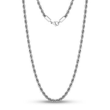 4mm Twist Rope Steel Chain Necklace