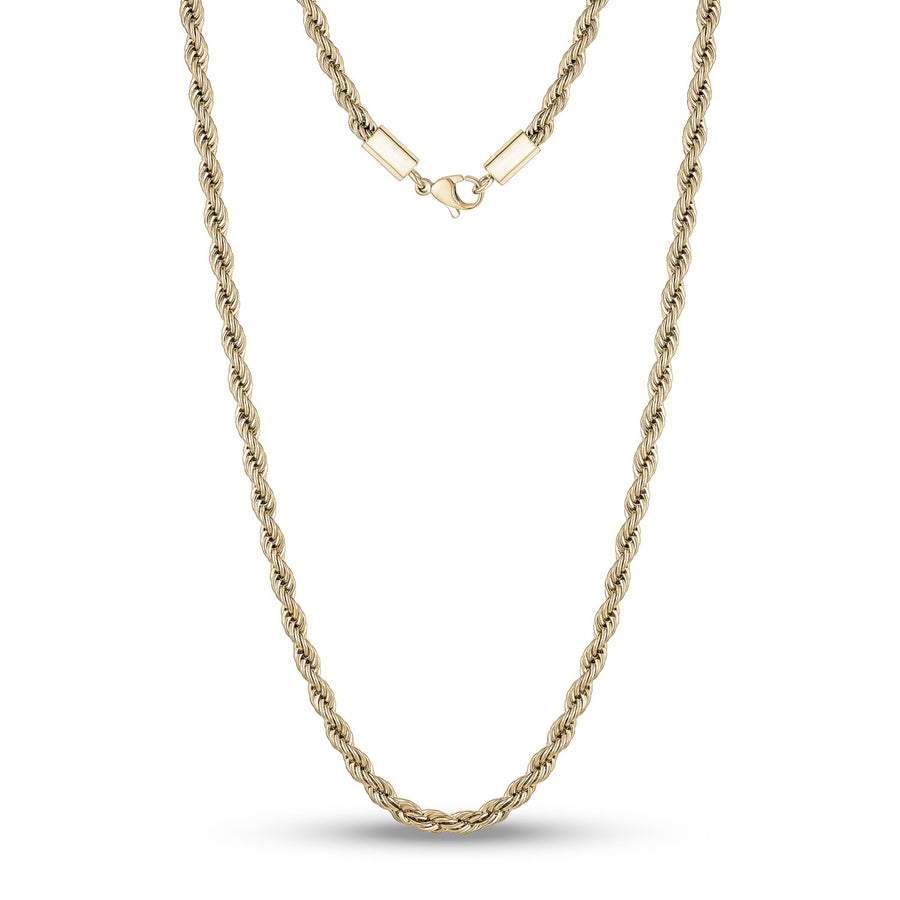 Men Necklace - 4mm Gold Twist Rope Steel Chain Necklace