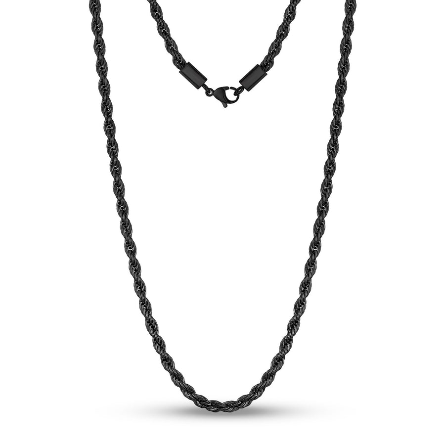 Men Necklace - 4mm Black Twist Rope Steel Chain Necklace