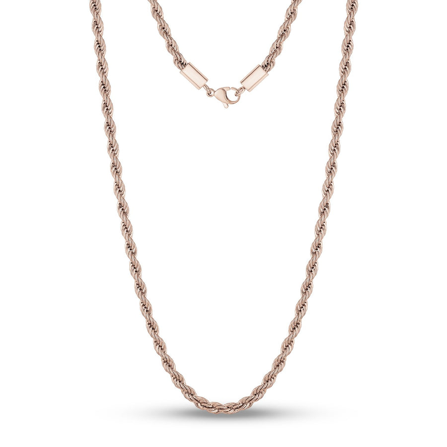 Men Necklace - 4mm Rose Gold Twist Rope Steel Chain Necklace
