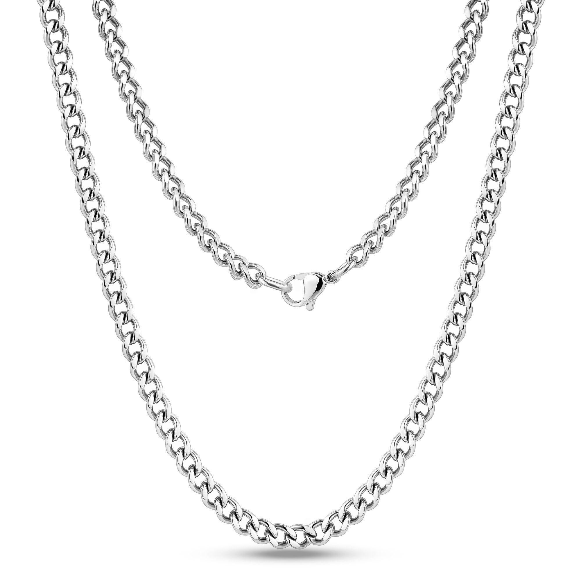 Men Necklace - 5mm Stainless Steel Cuban Link Chain Necklace