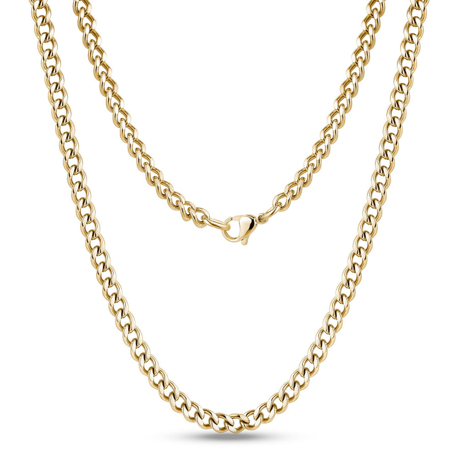 Men Necklace - 5mm Gold Stainless Steel Cuban Link Chain Necklace