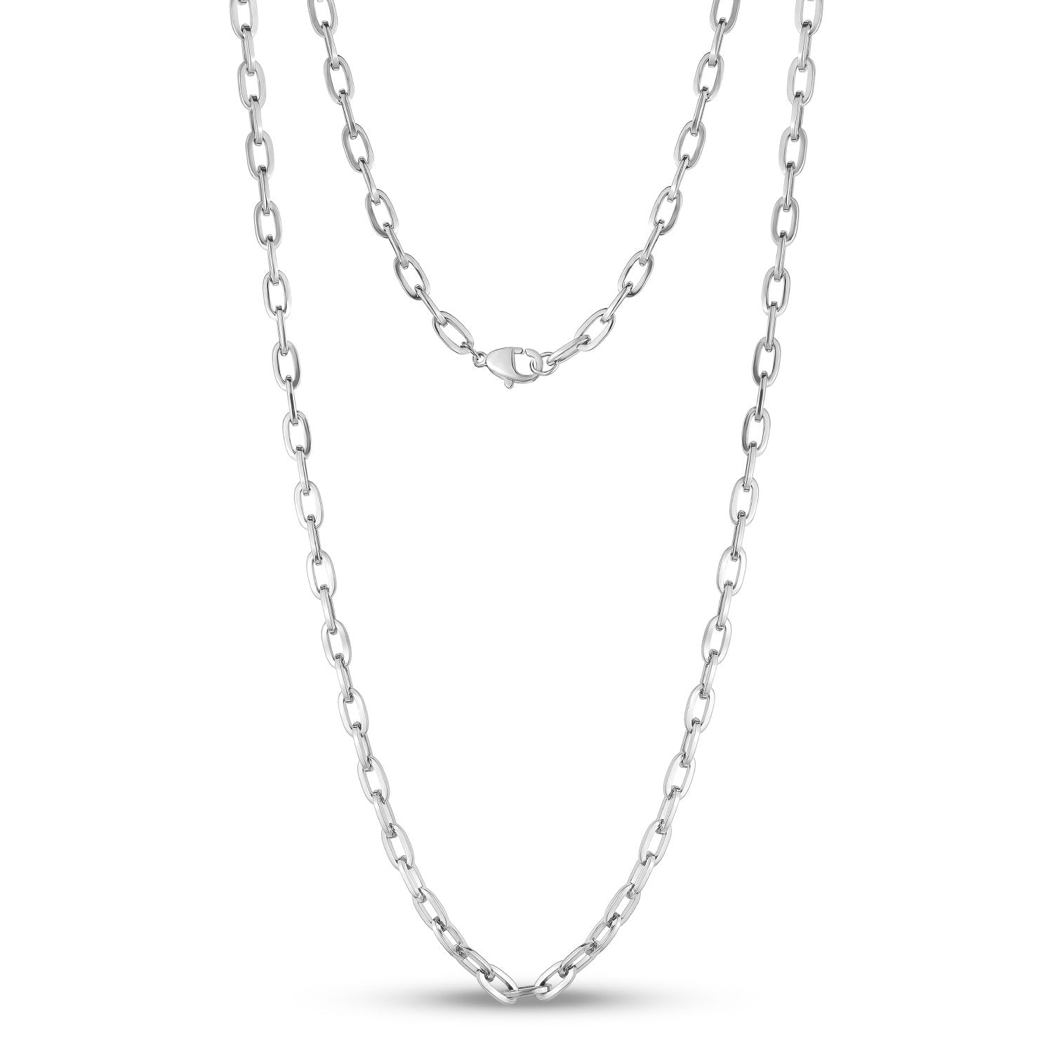 Men Necklace - 5mm Stainless Steel Oval Link Chain Necklace