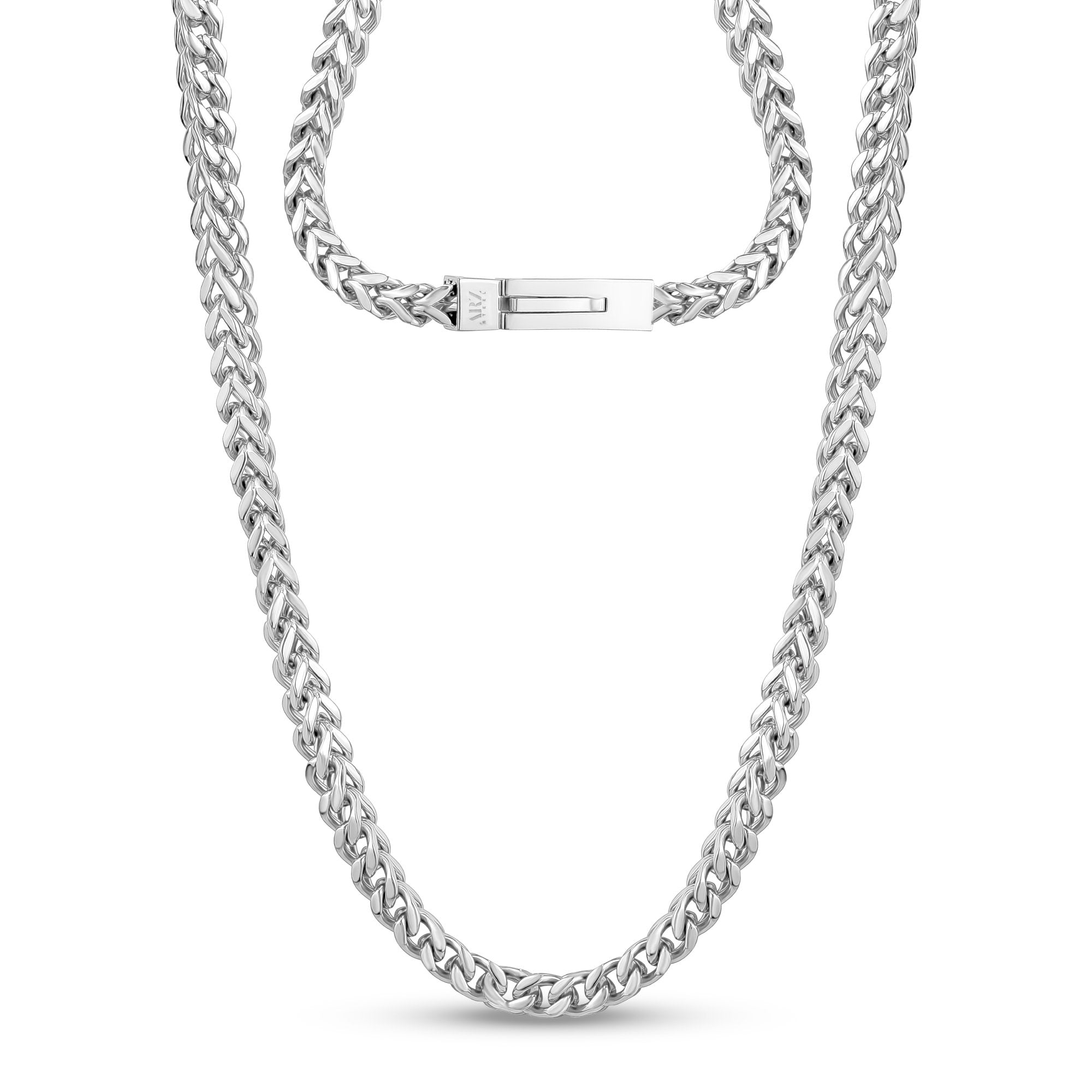 Men Necklace - 6mm Stainless Steel Franco Link Chain Necklace - Engravable