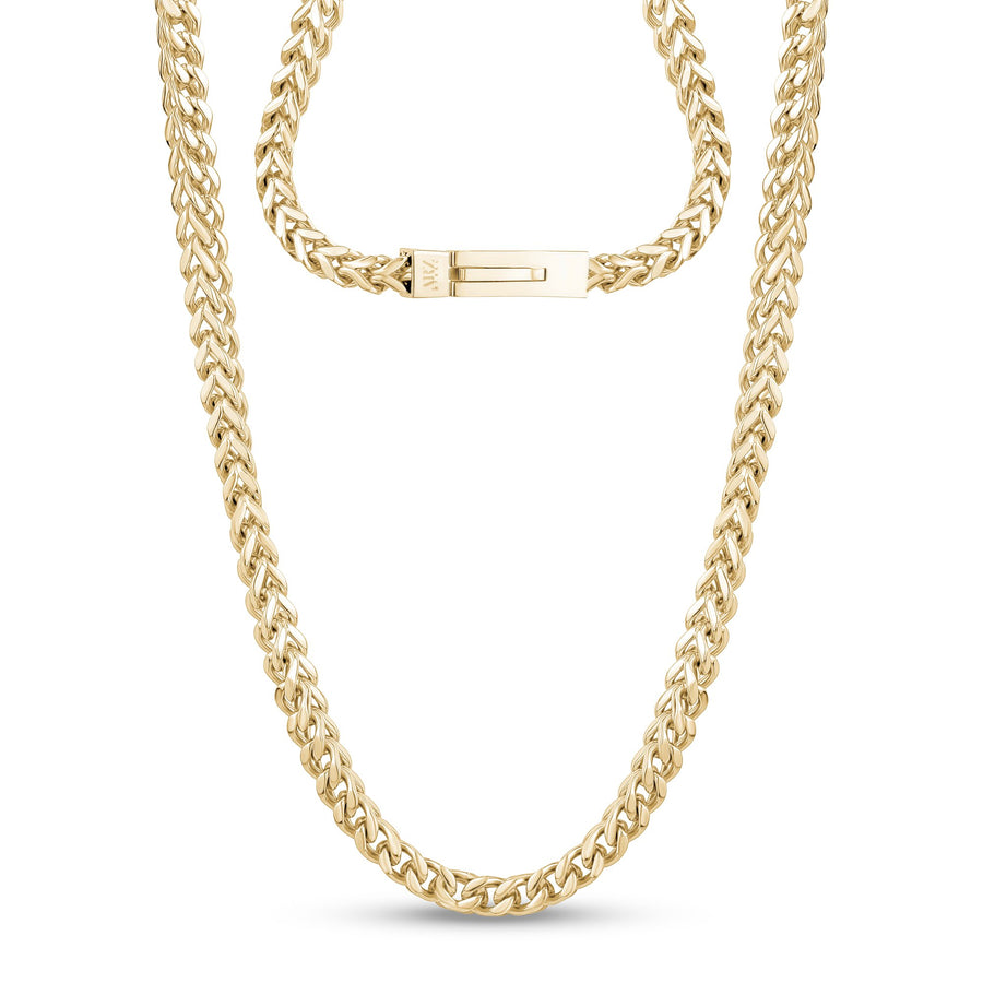 Men Necklace - 6mm Gold Stainless Steel Franco Link Chain Necklace - Engravable