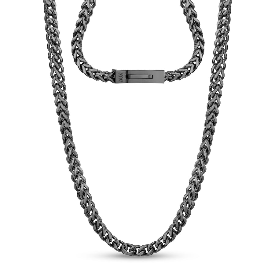 Men Necklace - 6mm Gun Metal Stainless Steel Franco Link Chain Necklace - Engravable
