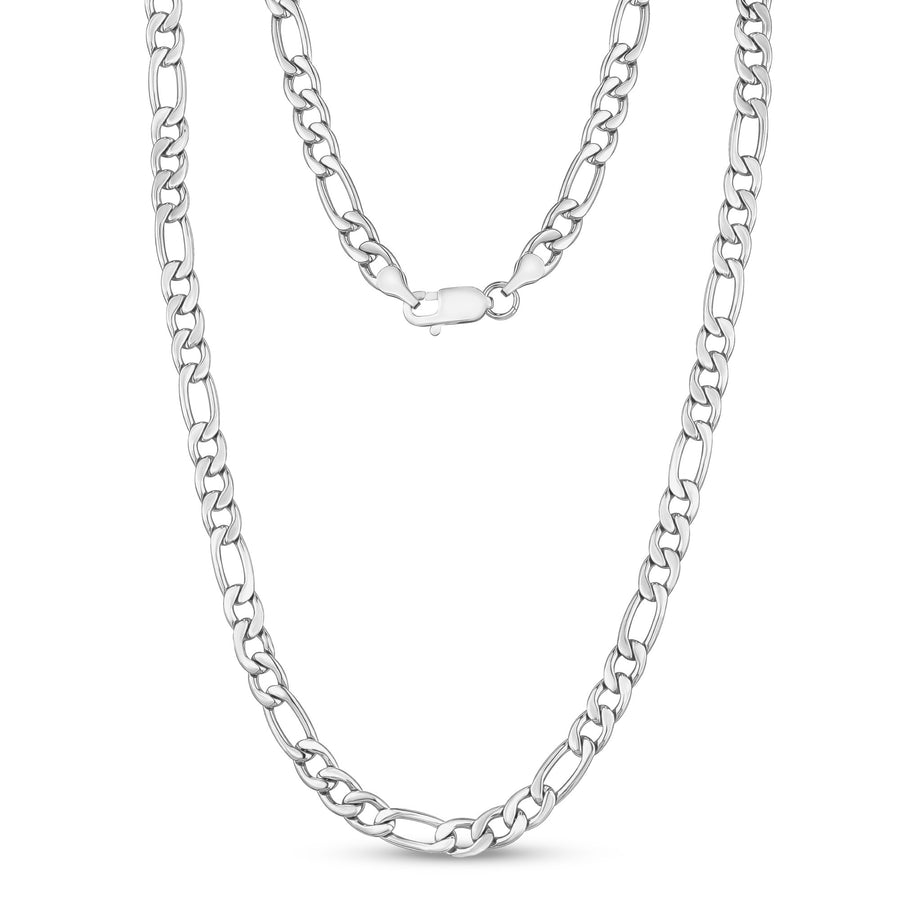 Men Necklace - 7mm Stainless Steel Figaro Link Chain Necklace