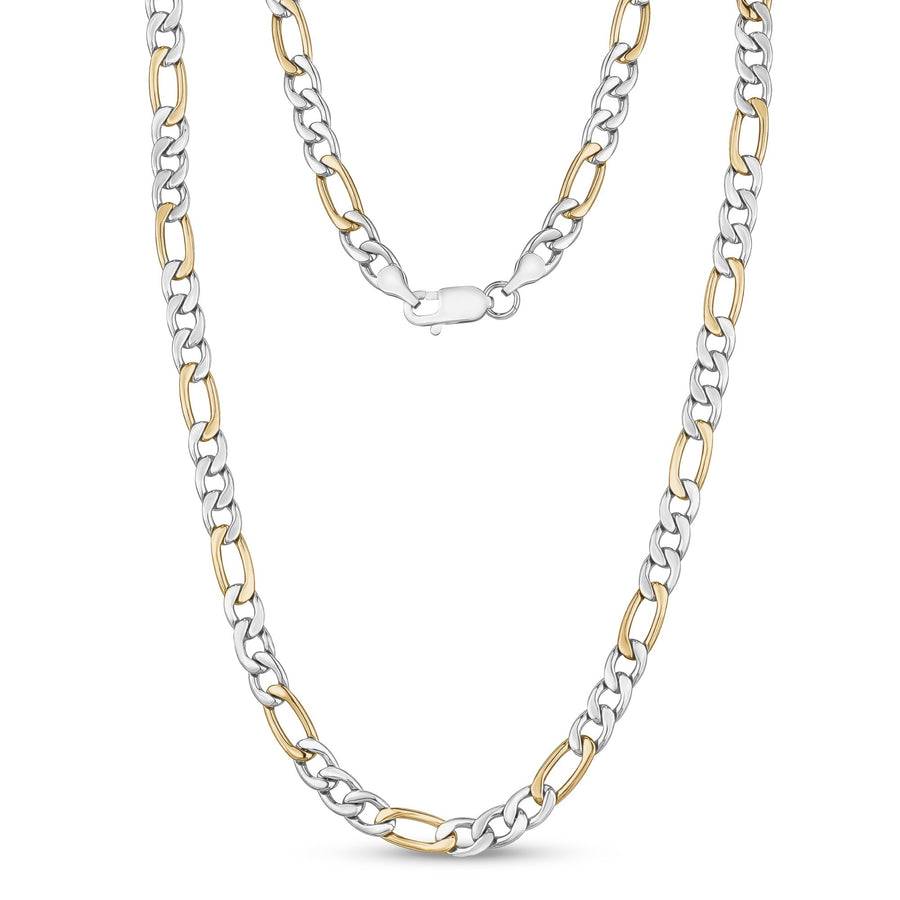 Men Necklace - 7mm Stainless Steel Two Tone Figaro Link Chain Necklace