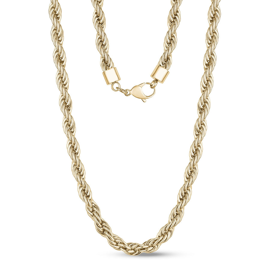 Men Necklace - 8mm Gold Twist Rope Steel Chain Necklace