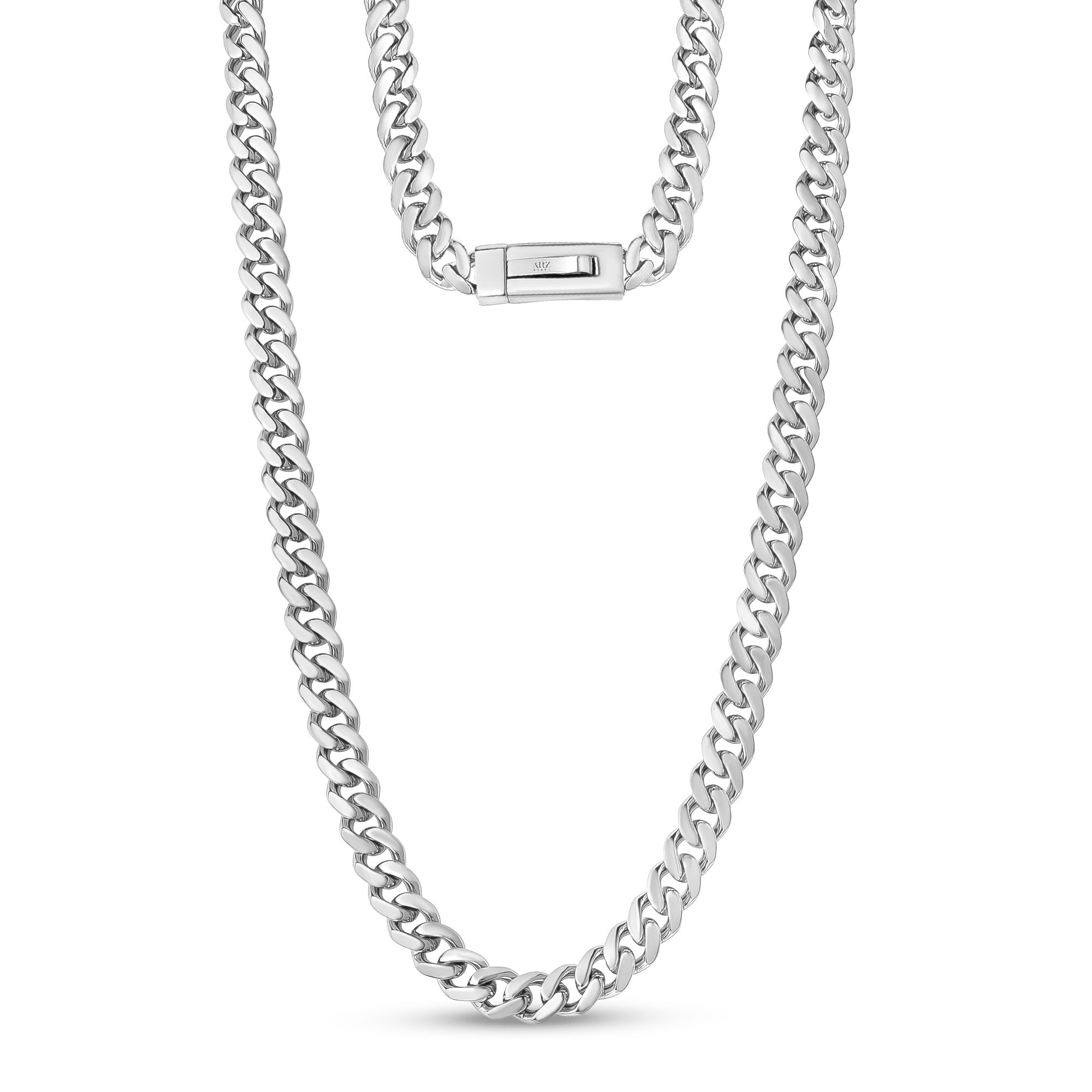 Men Necklace - 9mm Cuban Link Engravable Steel Chain Necklace