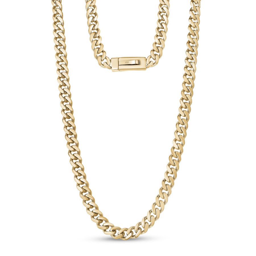 Men Necklace - 9mm Gold Cuban Link Engravable Steel Chain Necklace