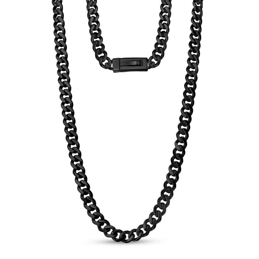 Men Necklace - 9mm Black Cuban Link Engravable Steel Chain Necklace