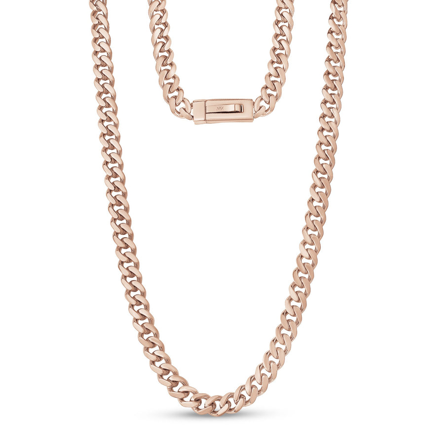 Men Necklace - 9mm Rose Gold Cuban Link Engravable Steel Chain Necklace