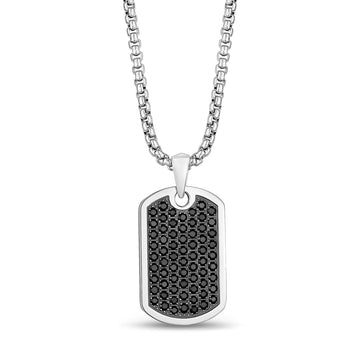Men Pendant - Iced Out Black Stone Dog Tag Pendant - Engravable