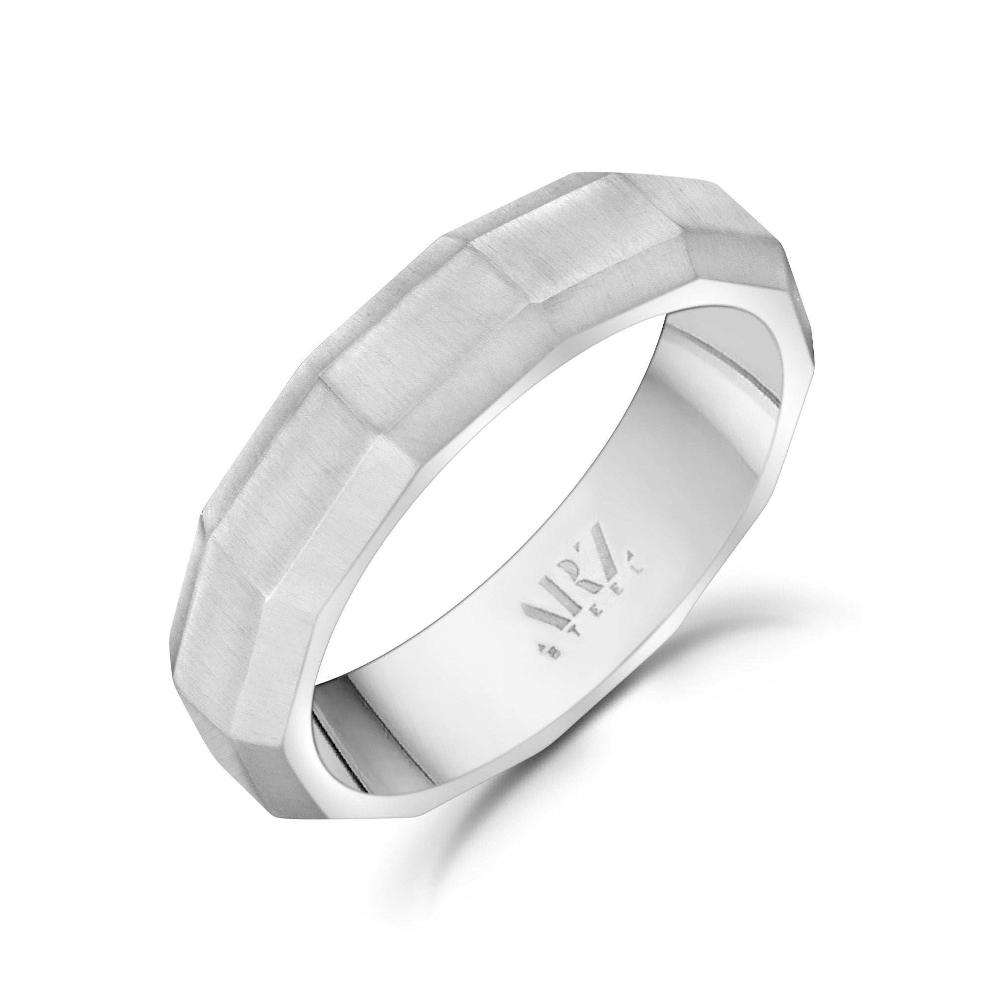 Men Ring - 5mm Faceted Matte Steel Engravable Band Ring