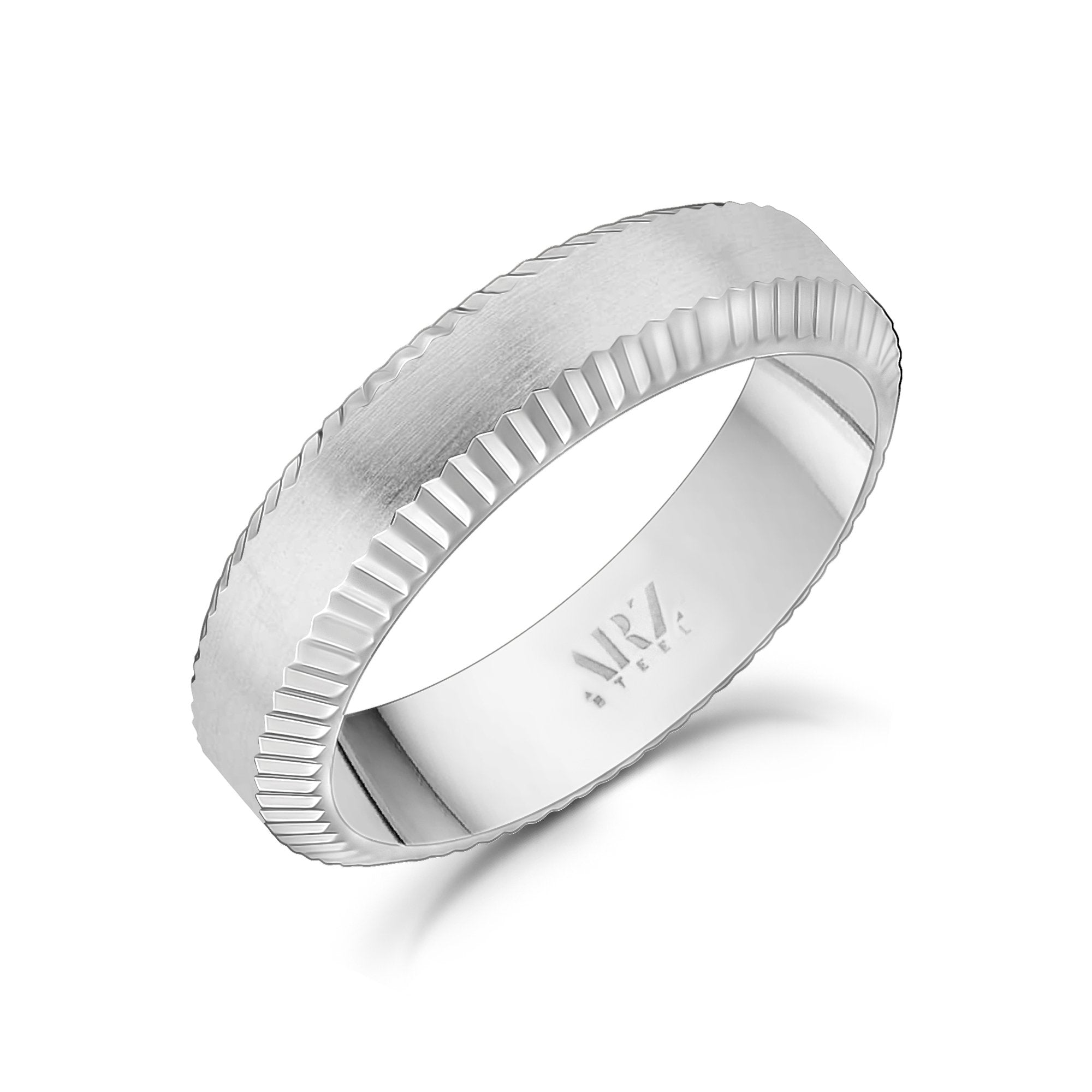 Men Ring - 6mm Beveled Edge Flat Steel Engravable Band Ring
