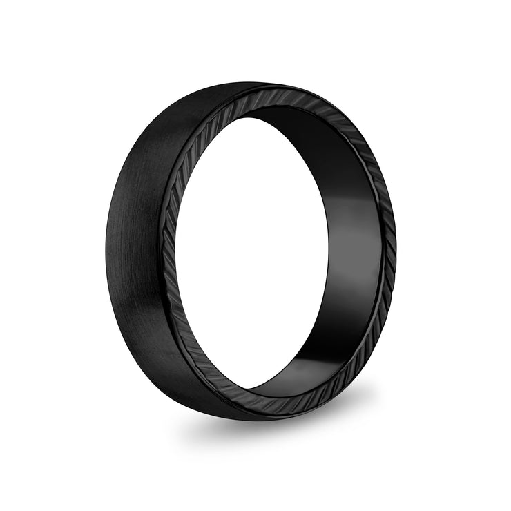 Men Ring - 6mm Matte Flat Black Stainless Steel Engravable Band Ring