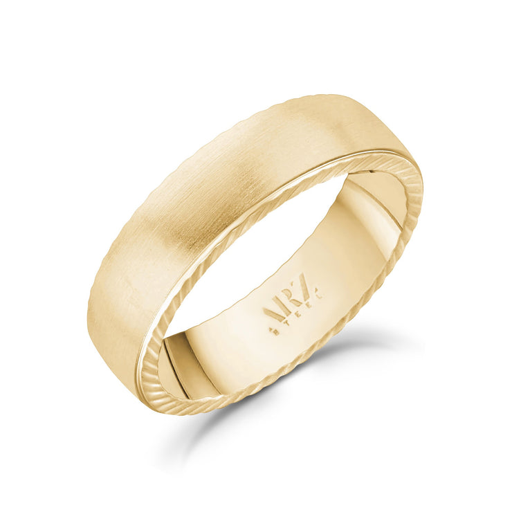 Men Ring - 6mm Matte Flat Gold Stainless Steel Engravable Band Ring