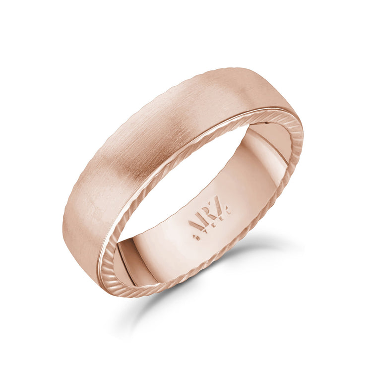 Men Ring - 6mm Matte Flat Rose Gold Stainless Steel Engravable Band Ring