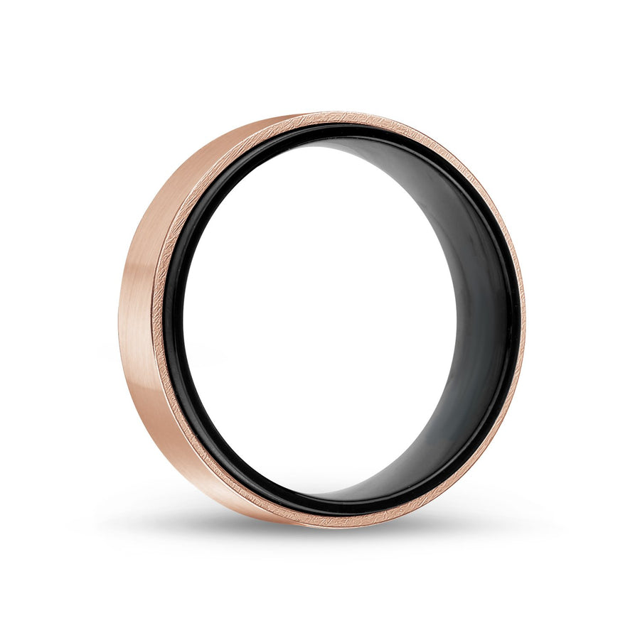 Men Ring - 7mm Black & Rose Gold Steel Wedding Band Ring - Engravable