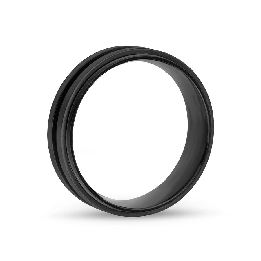 Men Ring - 7mm Black Stainless Steel Wedding Band Ring - Engravable